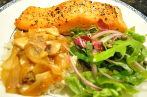 pan-fried salmon, caper salad and teriyaki mushrooms over rice