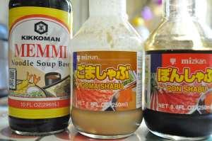 Sauces for shabu shabu (Memmi, Kon Shabu, Pon Shabu)