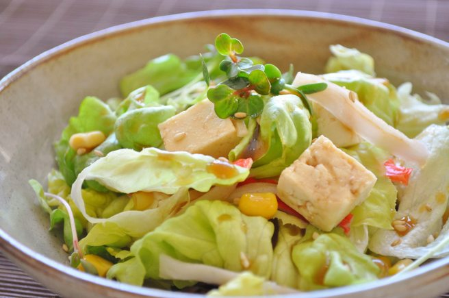 Tofu Salad with Soy Mustard dressing