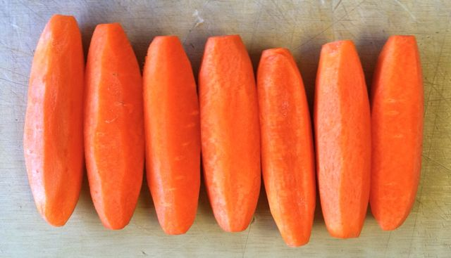 My first tournaged (cut into 7 sides) carrots