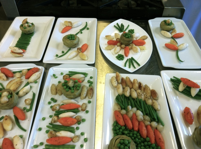 Turned and cooked vegetables - plated by the students